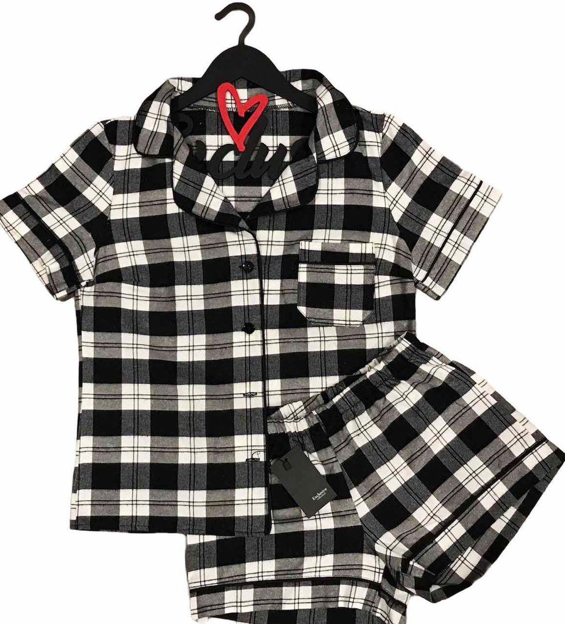 Тепла піжама фланелева, сорочка+ шорти клітина.