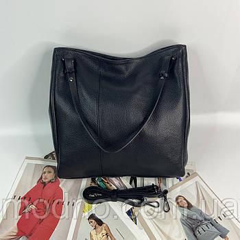 Женская качественная итальянская кожаная сумка на плечо Vera Pelle чёрная