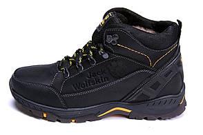 Мужские зимние кожаные ботинки Jack Wolfskin Black (реплика)