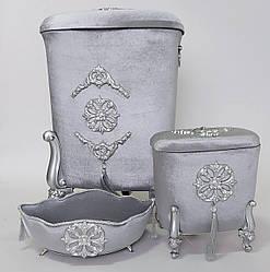 Набор корзин серого цвета для белья в ванную комнату (3 шт в комплекте)