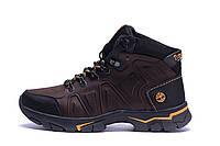 Мужские зимние кожаные ботинки Timderland Chocolate (реплика)