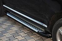 Боковые пороги Allmond Grey (2 шт, алюм) Volkswagen Touareg 2002-2010 гг.