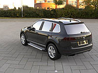 Боковые пороги Allmond Grey (2 шт, алюм) Volkswagen Touareg 2010-2018 гг.