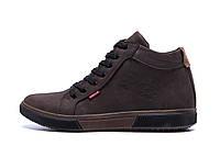 Мужские зимние кожаные кроссовки Levis Chocolate Classic (реплика)