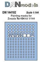 Маска для модели самолета Ту-154 (Zvezda).1/144 DANMODELS 144102