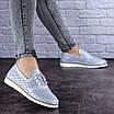 Женские кожаные туфли голубые Niky 1726 (36 размер), фото 2