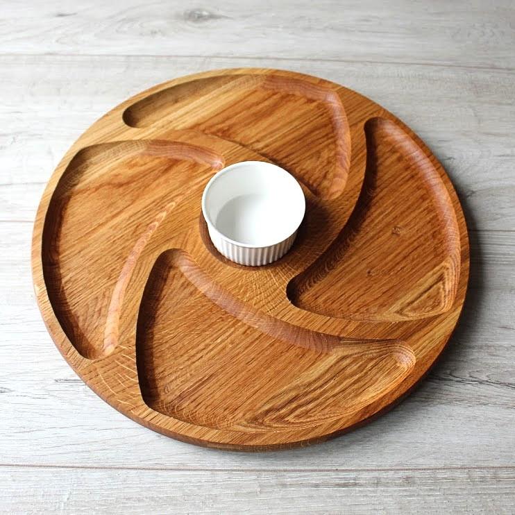 Менажница круглая деревянная с соусницей «Пацифика» HLS Ø 350 мм (т18-0252)