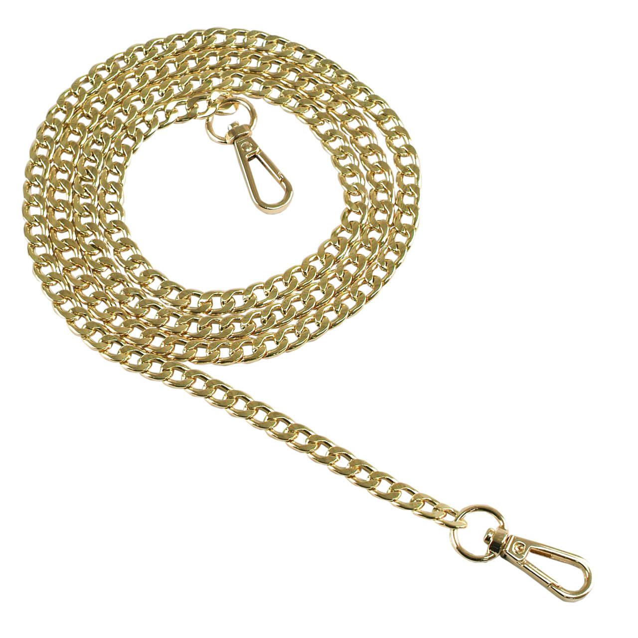 Якірна ланцюг плоска 120 см (8 мм ширина ланки) золото, поворотний карабін 38 мм