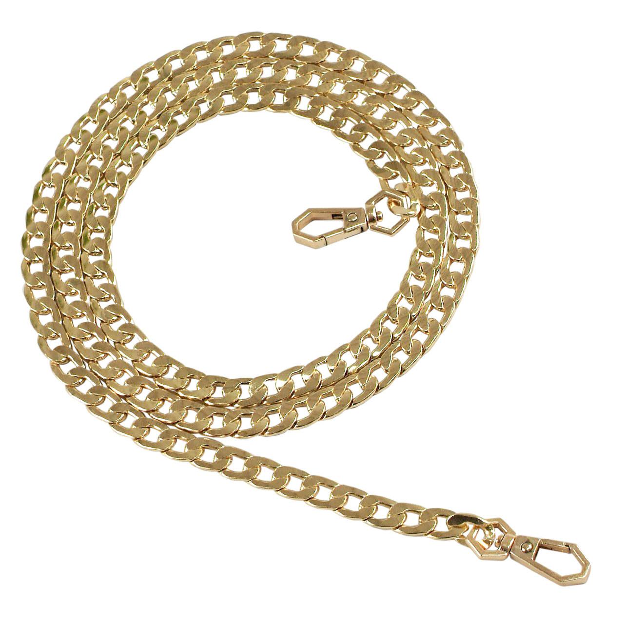 Цепь якорная плоская 120 см (10 мм ширина звена) золото, поворотный карабин граненый