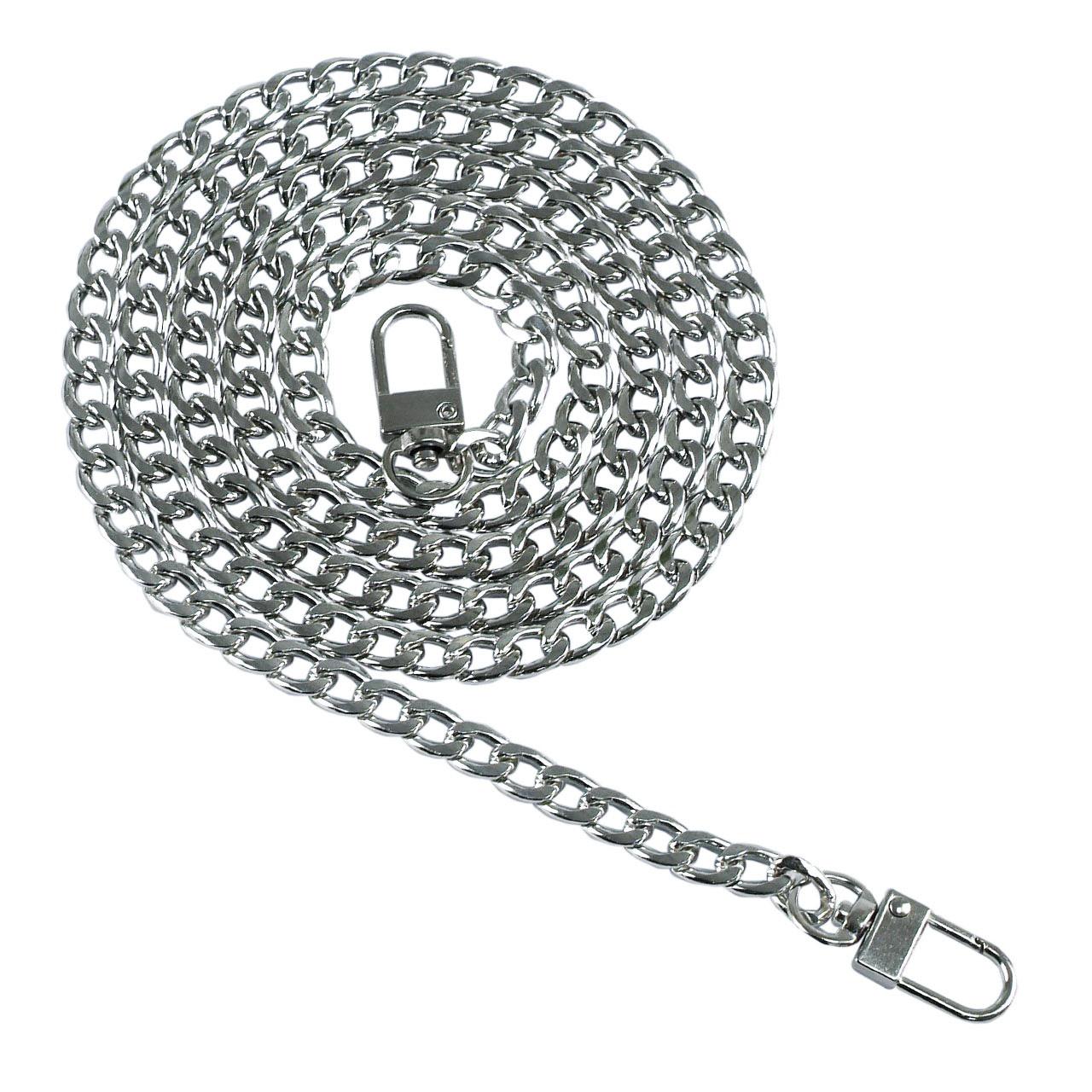 Цепь якорная плоская 120 см (8 мм ширина звена) серебро, поворотный карабин замок