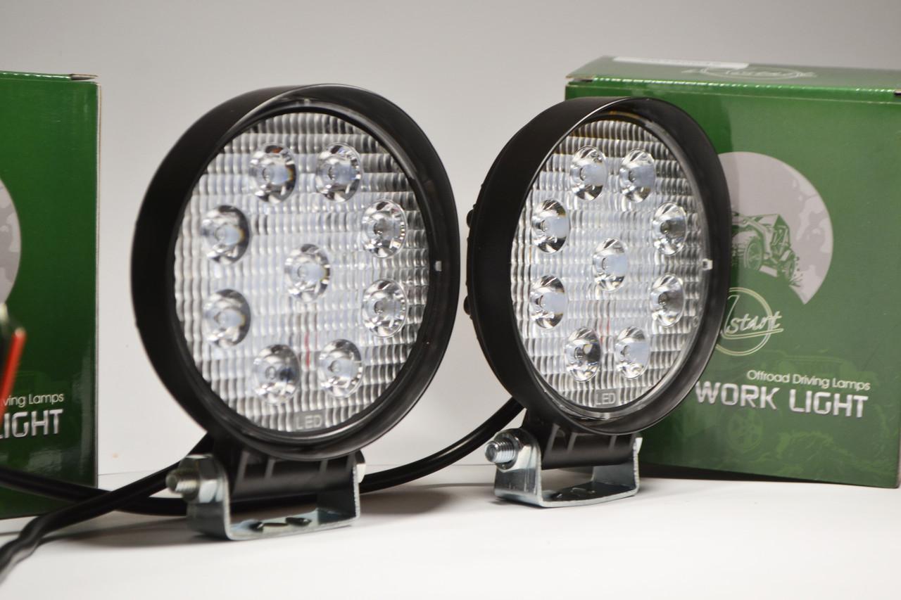 Светодиодная LED фара круглая рабочая 27W/60° 27Вт,(3Вт*9ламп)  (SLstart) (комплект)