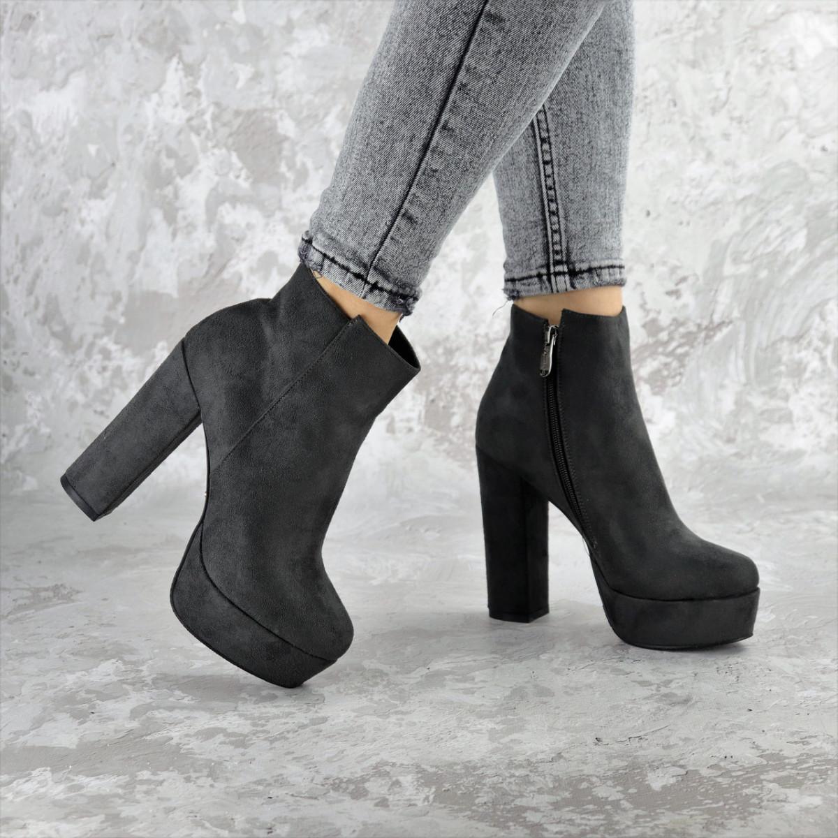 Ботинки женские на каблуке серые Dorf 2383 (35 размер)