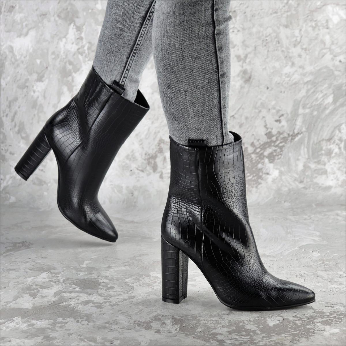 Ботинки женские на каблуке черные Magintey 2369 (35 размер)