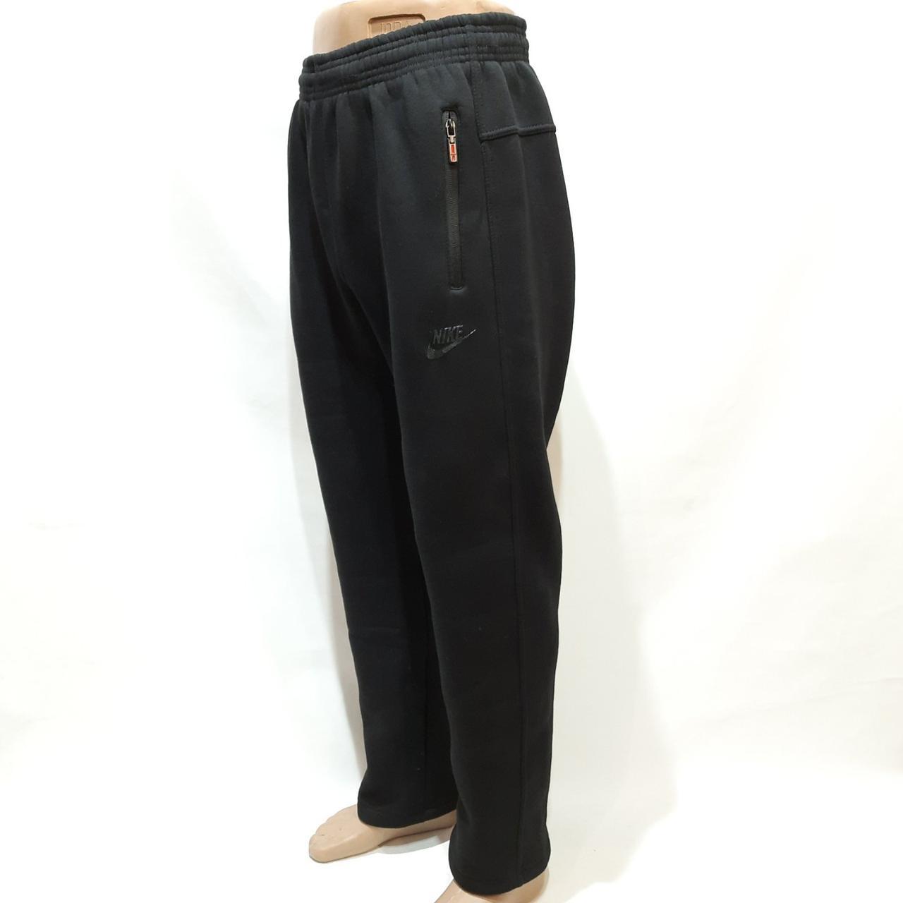 Зимние мужские прямые спортивные штаны р. хххл, последнии на флисе Черные