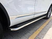 Боковые пороги Maydos V2 (2 шт., алюминий нерж) Volkswagen Touareg 2010-2018 гг.