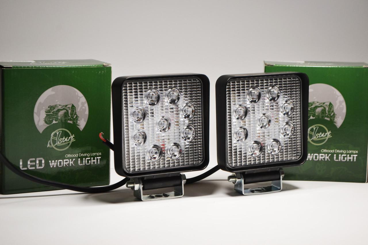 Светодиодная LED фара рабочая 27W/ 27Вт,(3Вт*9ламп) (SLstart) (Комплект 2шт)