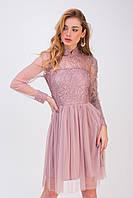 Женское пудровое платье с пышной юбкой до колен Лаванда