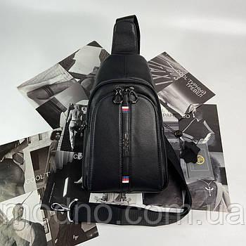 Мужская кожаная нагрудная сумка слинг через плечо H.T. Leather чёрная
