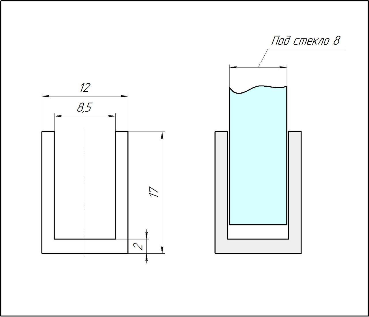 ODF-04-24-21-L3000  Профиль из алюминия  под стекло 8 мм, черный, профиль для ванны