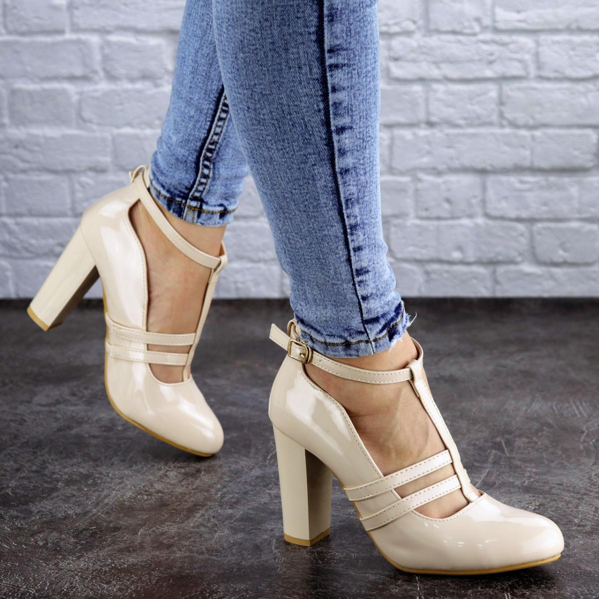 Женские лаковые туфли бежевые Sombra 2072 (37 размер)