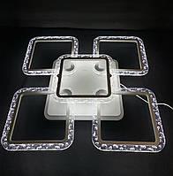 Люстра светодиодная квадраты 4+1 белая 105 Ватт, фото 1