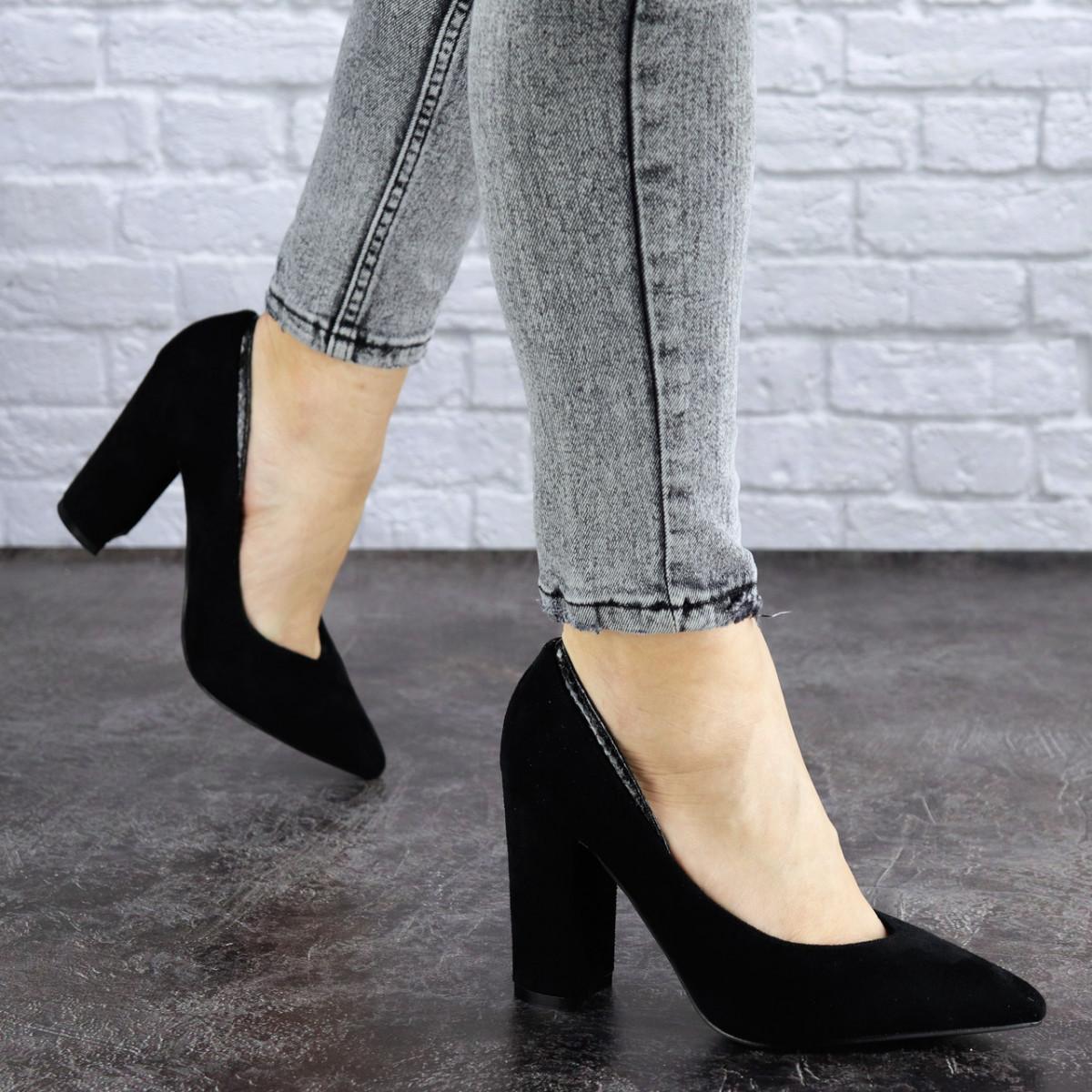 Туфли женские на каблуке черные Ginger 1764 (36 размер)