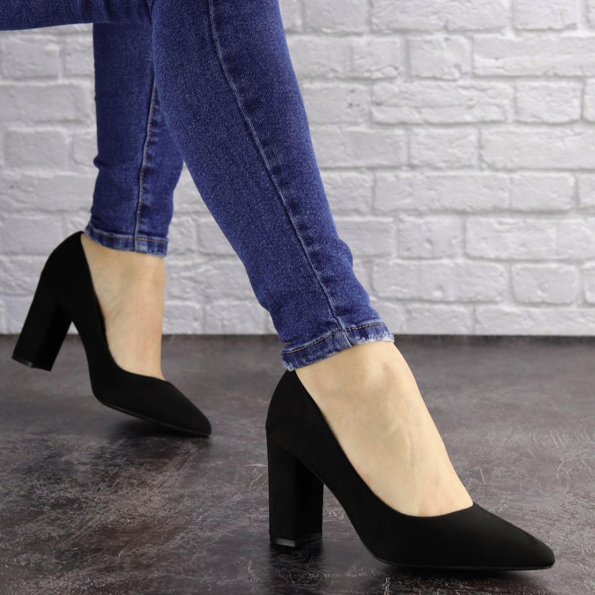 Туфли женские на каблуке черные Maddi 1604 (37 размер)
