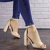 Женские бежевые босоножки на каблуке Cliff 1557 (40 размер), фото 3