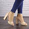 Женские бежевые босоножки на каблуке Cliff 1557 (40 размер), фото 9
