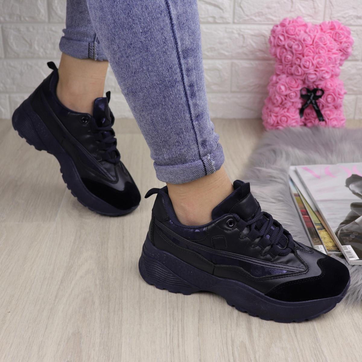 Женские стильные кроссовки Ella темно синие 1096 (38 размер)