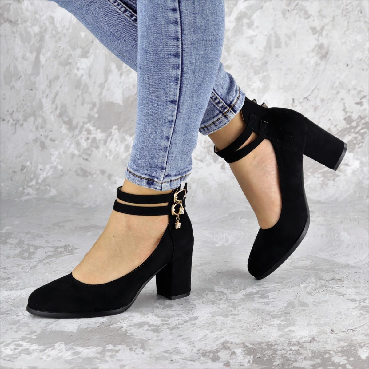 Туфли женские на каблуке черные Pebbles 2146 (36 размер)