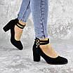 Туфли женские на каблуке черные Pebbles 2146 (36 размер), фото 5