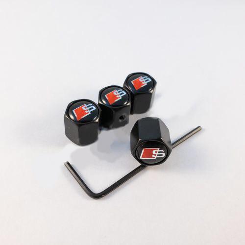 Колпачки на ниппеля Audi S-line/черный колпачок
