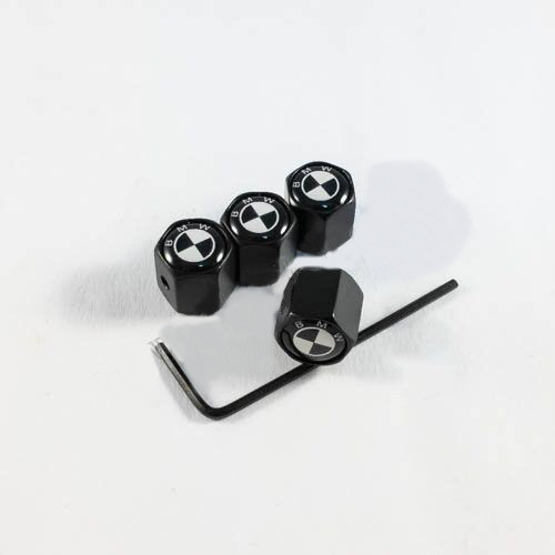 Колпачки на ниппеля BMW черно-белый лого / черные