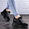 Женские стильные черные кроссовки на танкетке Misifu 2070 (36 размер), фото 2