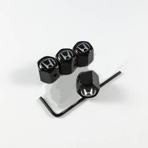 Колпачки на ниппеля Honda черный лого / черный колпачок