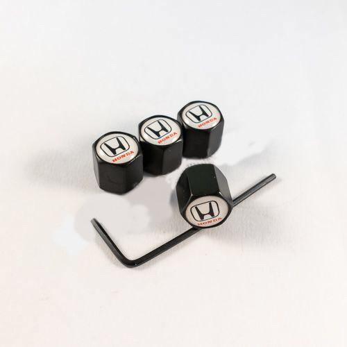 Колпачки на ниппеля Honda белый лого/черный колпачок