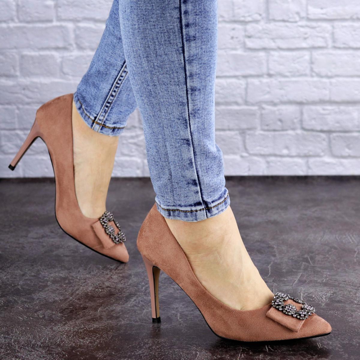 Женские туфли на каблуке розовые April 1936 (36 размер)