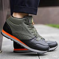 Зимние мужские кроссовки Reebok высокие зеленые с мехом / Размеры 41 44 44,5 45, фото 1