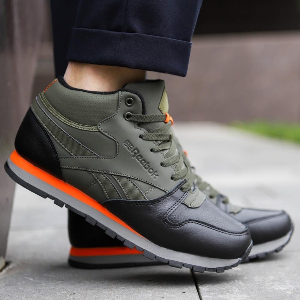 Зимние мужские кроссовки Reebok высокие зеленые с мехом / Размеры 41 44 44,5 45