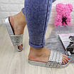 Шлепки женские серебристые с камнями 1032-1 (40 размер), фото 3