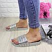 Шлепки женские серебристые с камнями 1032-1 (40 размер), фото 5