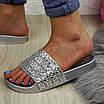 Шлепки женские серебристые с камнями 1032-1 (40 размер), фото 7