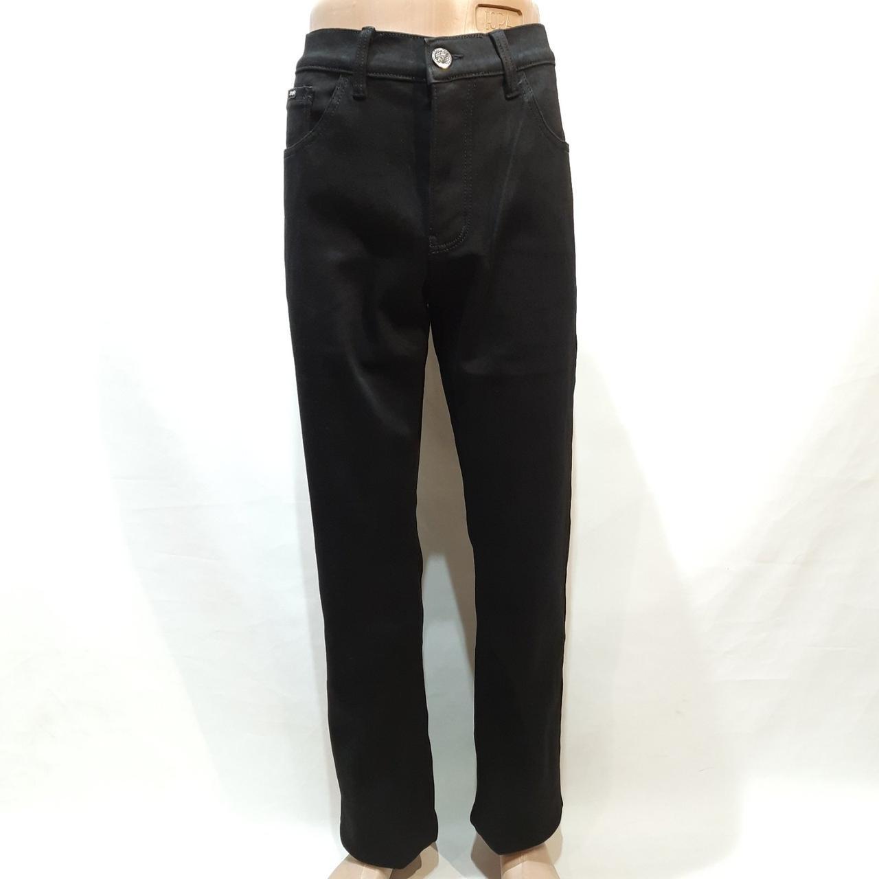 Зимние мужские прямые джинсы на флисе Черные