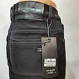 Зимние мужские прямые джинсы на флисе Черные, фото 4