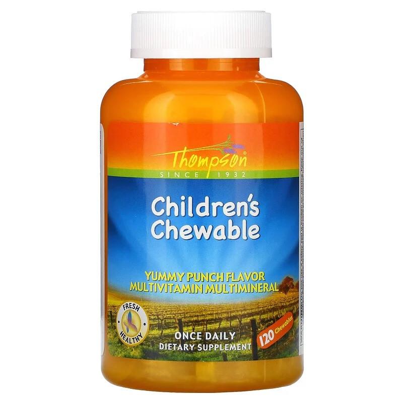 Thompson Детские жевательные витамины и минералы с натуральным вкусом пунша - 120 шт