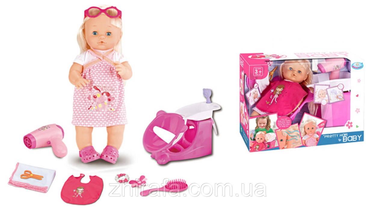Пупс, лялька в салоні краси, перукарні. Душ з водою, крісло, фен