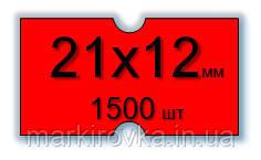 Этикет-лента 21,5х12 мм для 1-строчных этикет-пистолетов. Цвет- красный