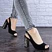 Женские черные босоножки на каблуке Galaxy 1711 (36 размер), фото 2