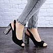 Женские черные босоножки на каблуке Galaxy 1711 (36 размер), фото 4